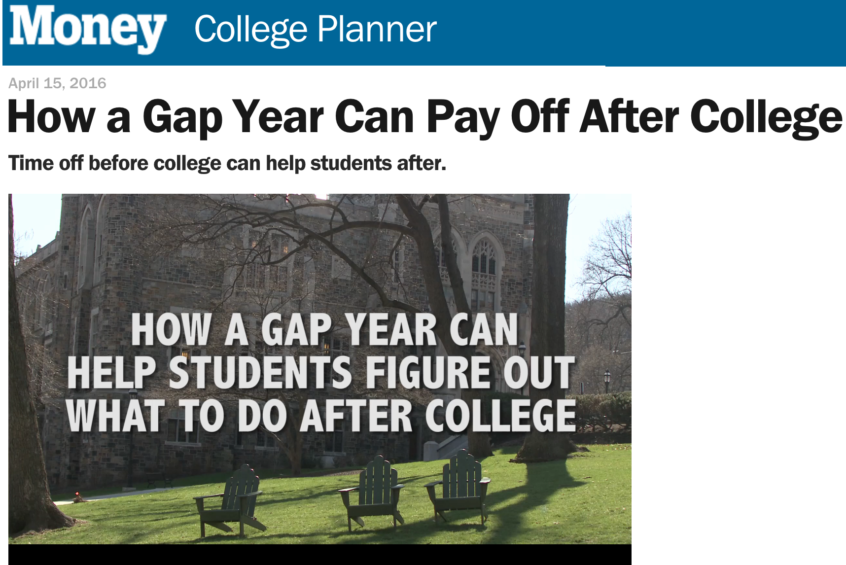 american gap association knight explains that gap years allow students to explore their interests and figure out where they want to land after they graduate